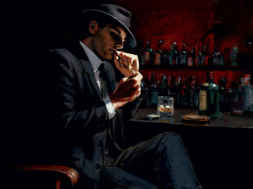 Man Lighting Cigarette III by Fabian Perez