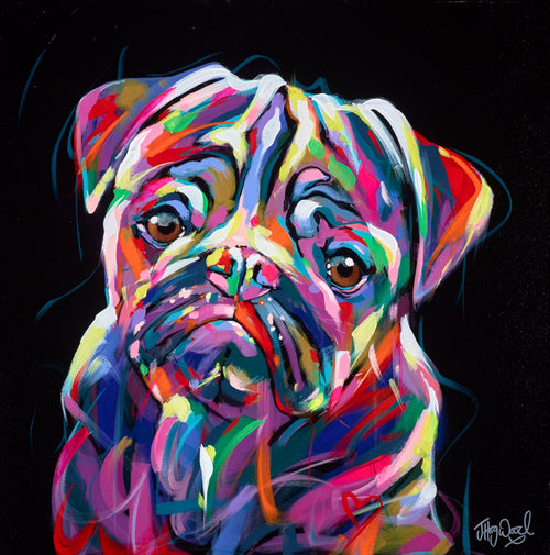 Multicolour Pug by Jennifer Hogwood