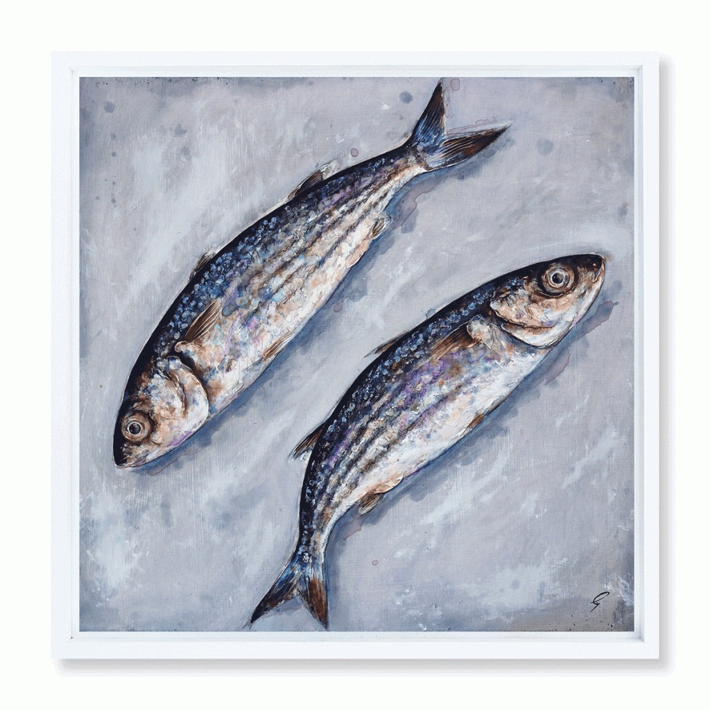 Two Grey Mullet Original by Giles Ward