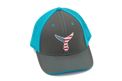 Blue/Gray Liquid Embroidered Flex Fit Hat