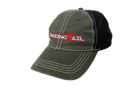 Trucker Hat Gray W/ Red Tail