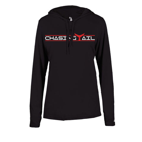 Red Tail Hooded Long Sleeve Tech Tee