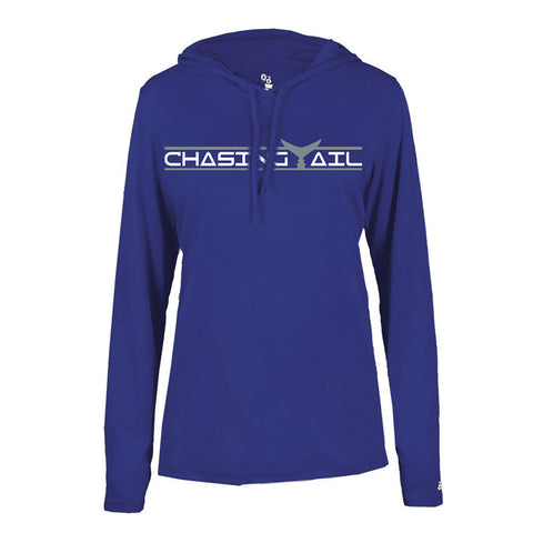 Royal Blue Hooded Long Sleeve Tech Tee
