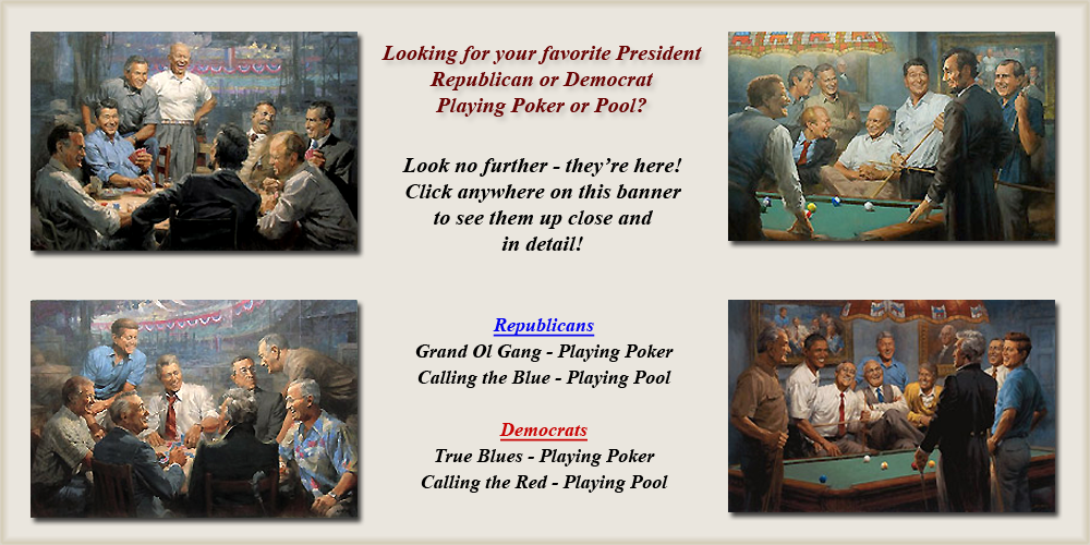Presidents Playing Pool and Poker