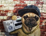 Dog with Hat & Boombox Art Prints