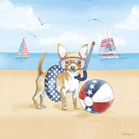 Chihuahua on the beach art prints