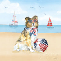 Patriotic Dog ready to run art prints