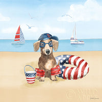Summer Paws Dachshund art prints at the Beach