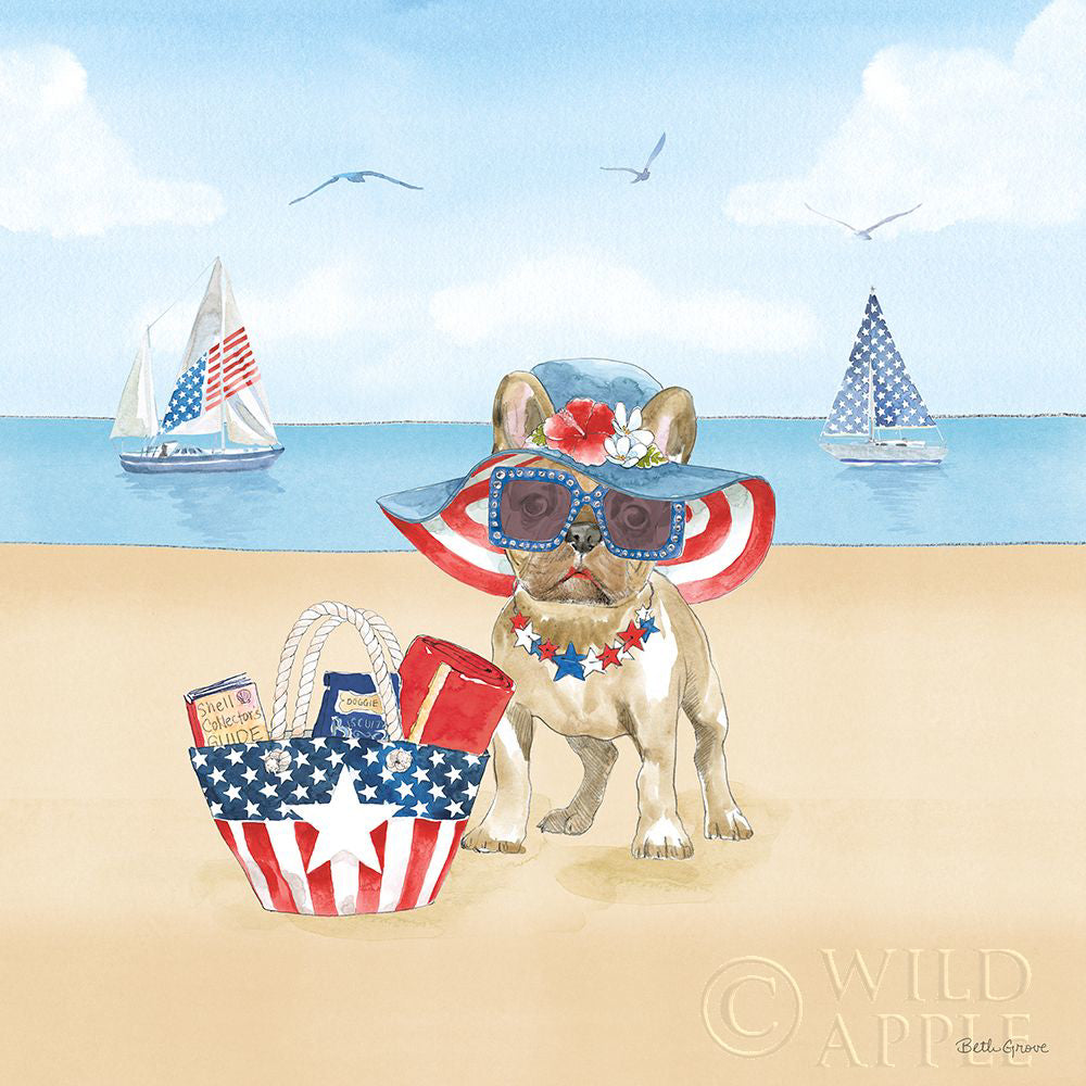 Patriotic Bull Dog on Beach Art Prints