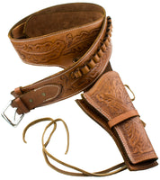 Deluxe Tooled Tan Leather Western Holster - M