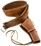 Deluxe Tooled Tan Leather Western Holster - LG