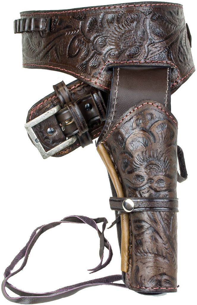 Deluxe Tooled Antiqued Brown Leather Western Holster - M