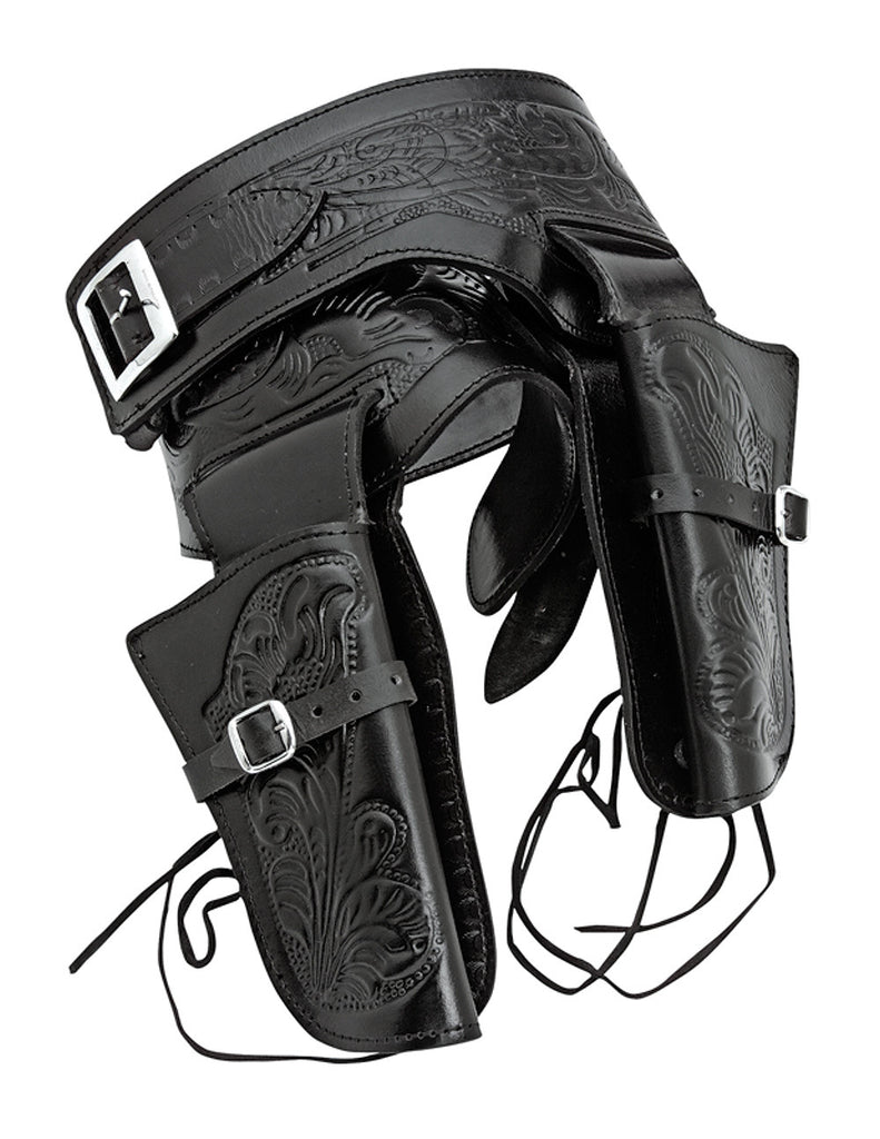 Double Tooled Black Leather Western Holster - L
