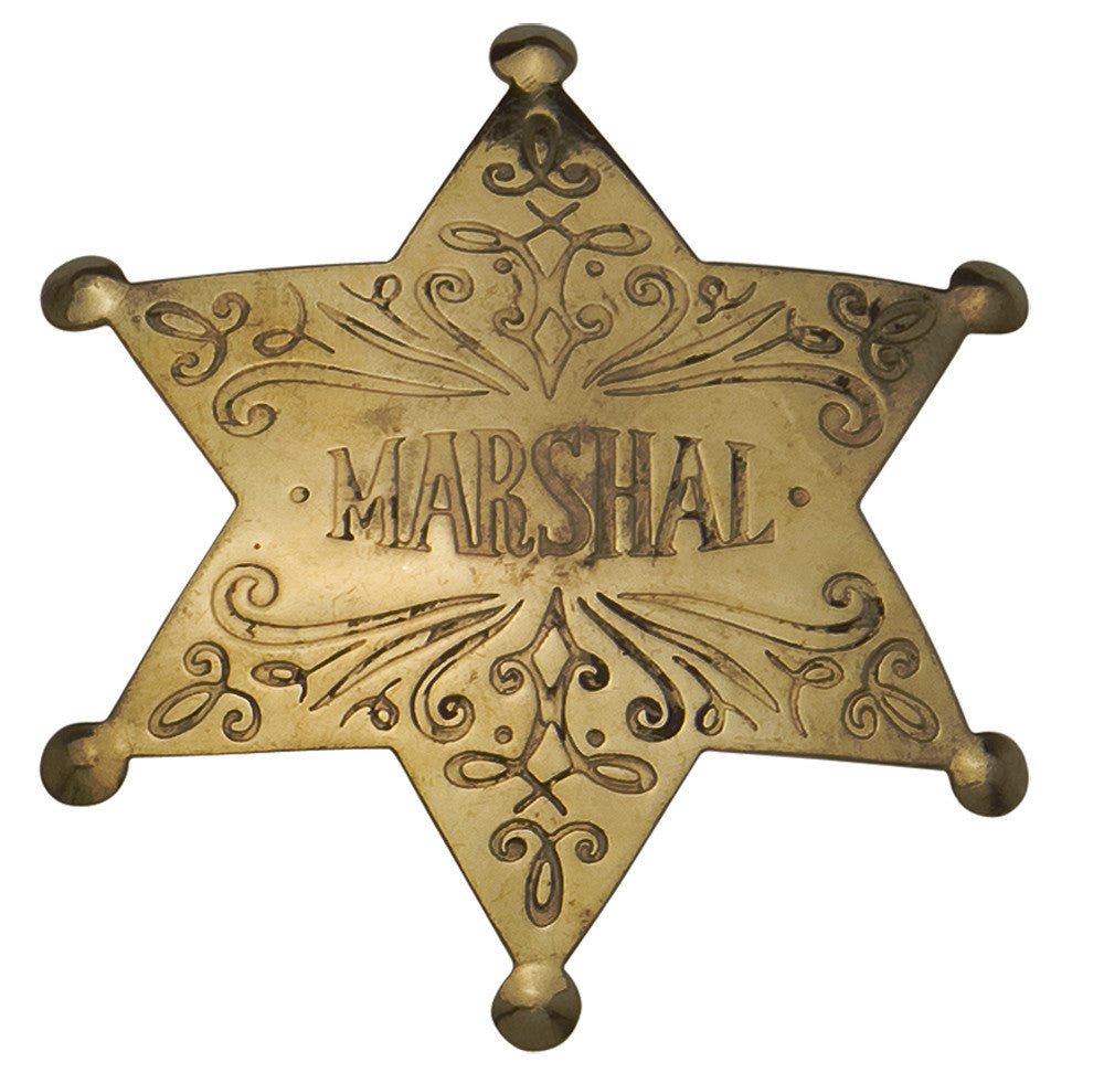 Old West Brass Marshal's Badge
