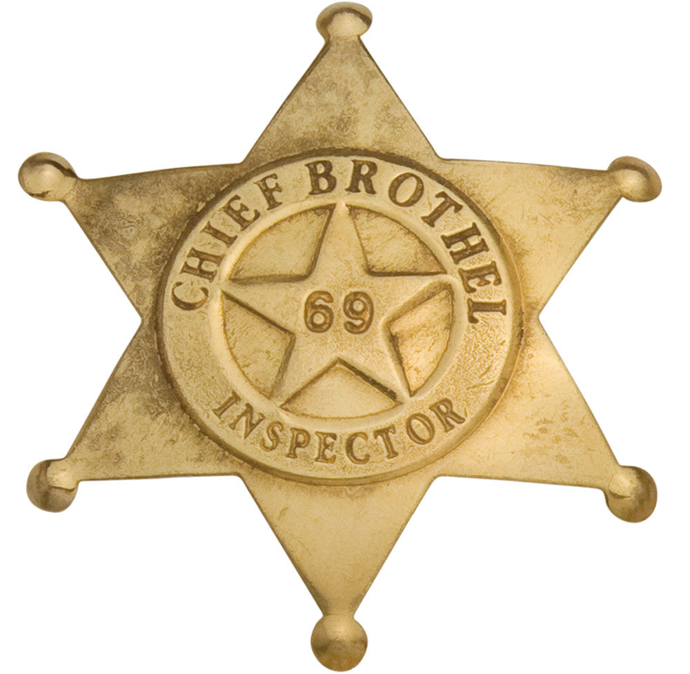 Old West Brass Brothel Inspector's Badge
