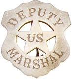 Old West Silver U.S. Deputy Marshall's Shield Badge