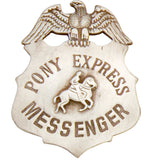Old West Silver Pony Express Badge