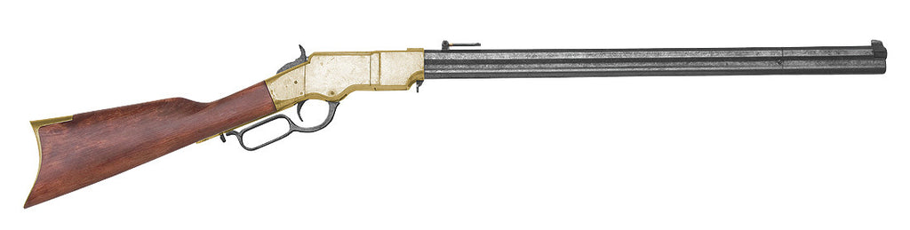 Old West Brass Finish Replica Repeating Rifle Non-Firing Gun
