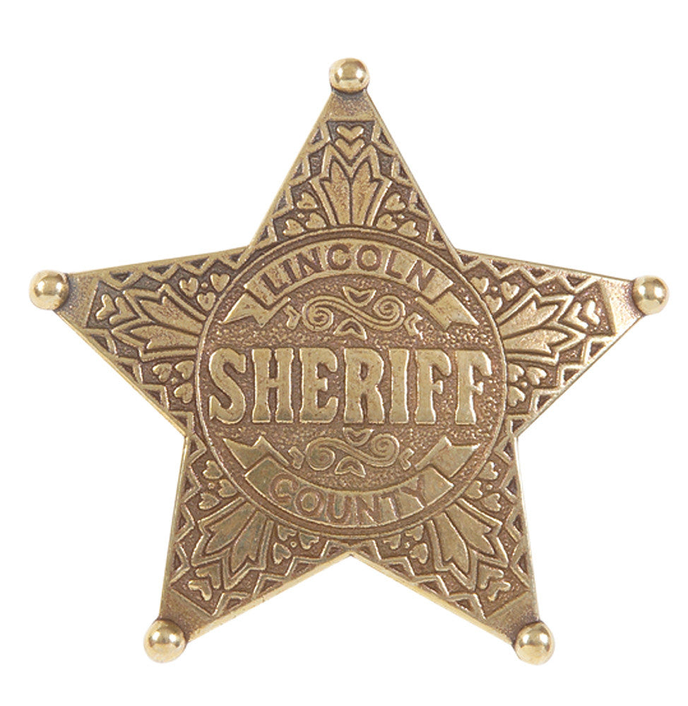 Old West Denix Lincoln County 5 Ball-Point Sheriff's Badge