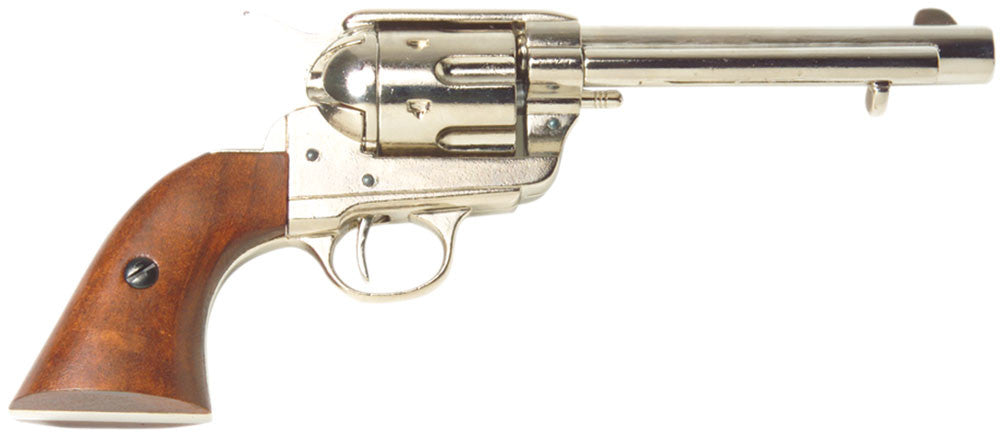 Old West Frontier Nickel Finish Replica Revolver Non-Firing Gun