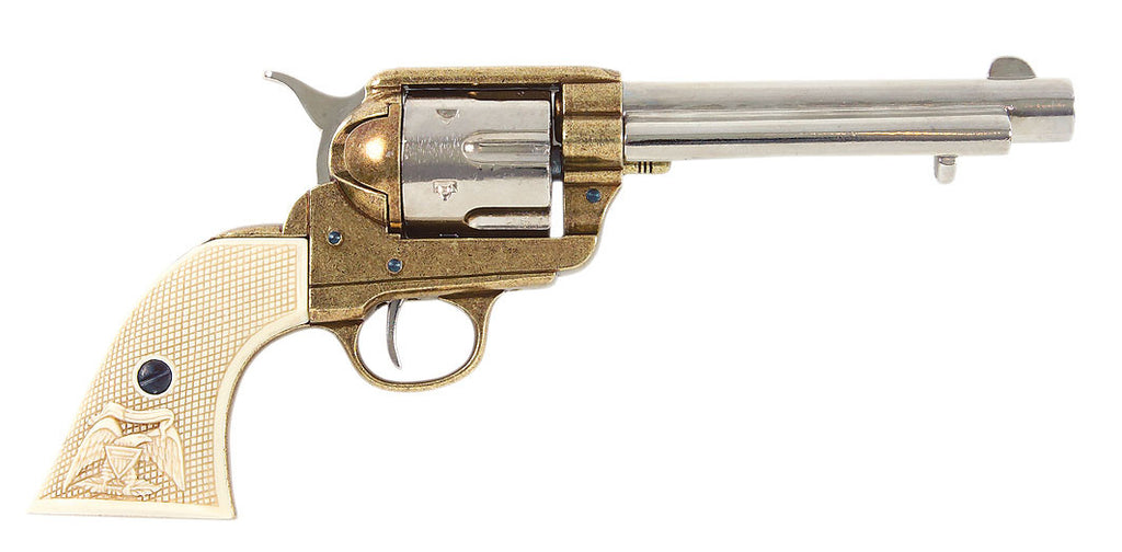 Old West 1873 Frontier Barrel Dual Tone Finish Replica Revolver Non-Firing Gun