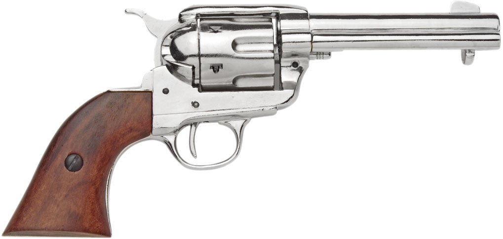 Old West Replica 1873 Nickel Finish Quick Draw Revolver Non-Firing Gun