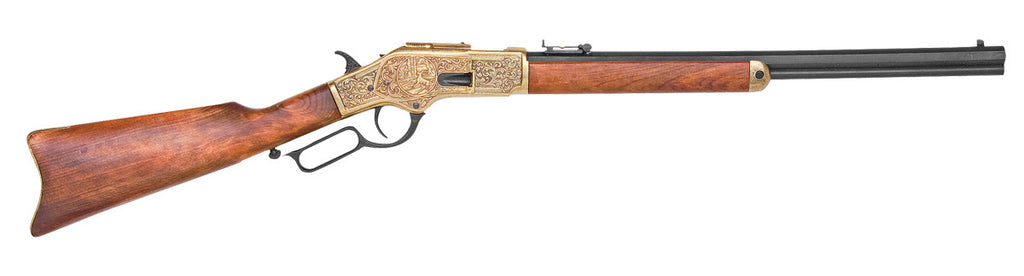 Old West 1873 Engraved Brass Trim Replica Lever Action Rifle Non-Firing Gun