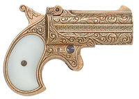 Old West Replica 1866 Brass Finish Double Barrel Derringer Non-Firing Gun