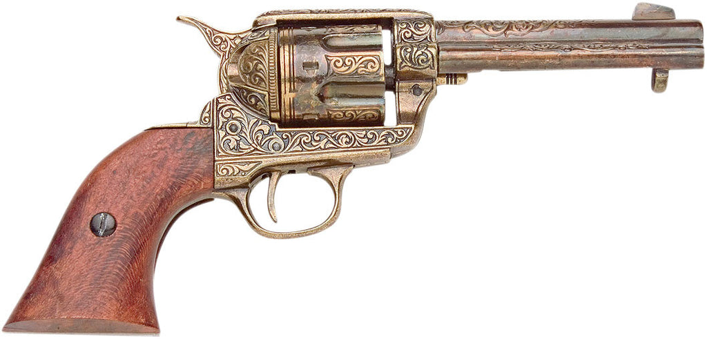 Old West Replica Fast Draw Gold Engraved Revolver Non-Firing Gun