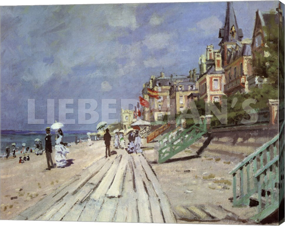 Claude Monet Beach at Trouville 1870 Gallery Wrapped Giclee Canvas Art Print