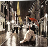 Pierre Benson Kissing in Paris Detail Gallery Wrapped Giclee Canvas Art Print