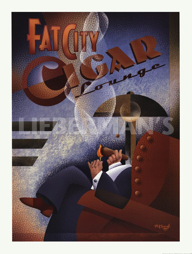 Fat City Cigar Lounge Art Deco Prints by Michael Kungl Artist