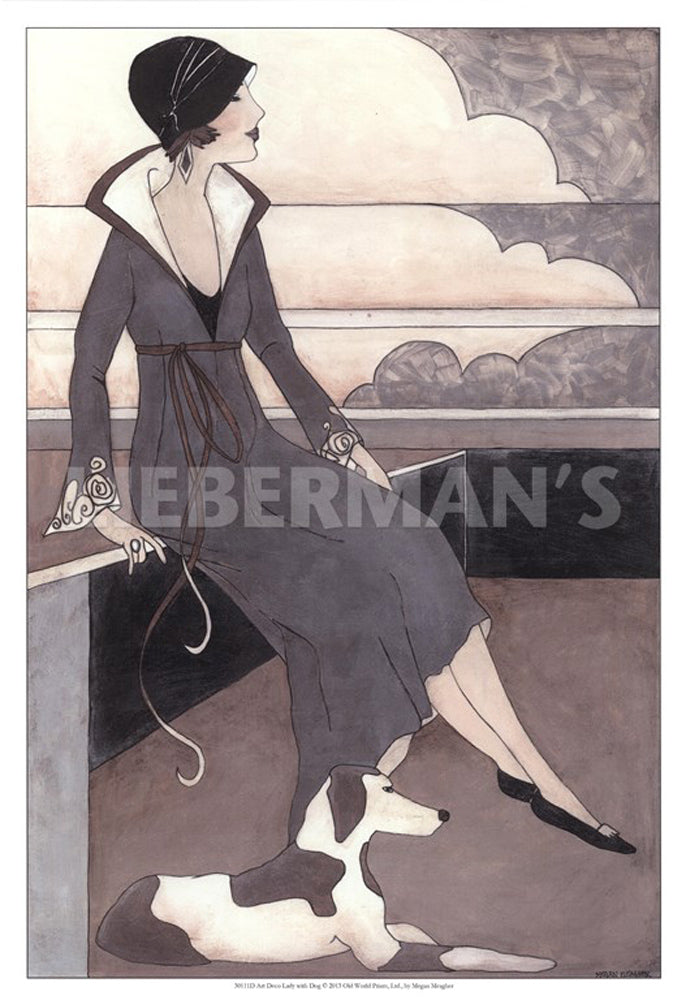 Art Deco Lady with Dog Art Prints by Megan Meagher Artist