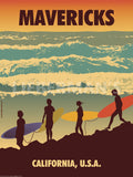 Mavericks Art Deco Surfing Prints by American Flat