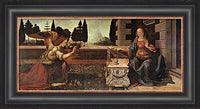 Annunciation Custom Framed Giclee Canvas by Leonardo Da Vinci