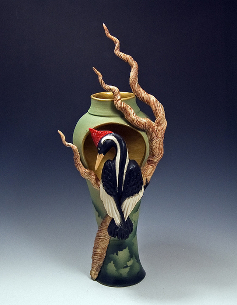 Anybody Home Pilated Woodpecker Ceramic Artwork by Bonnie Belt