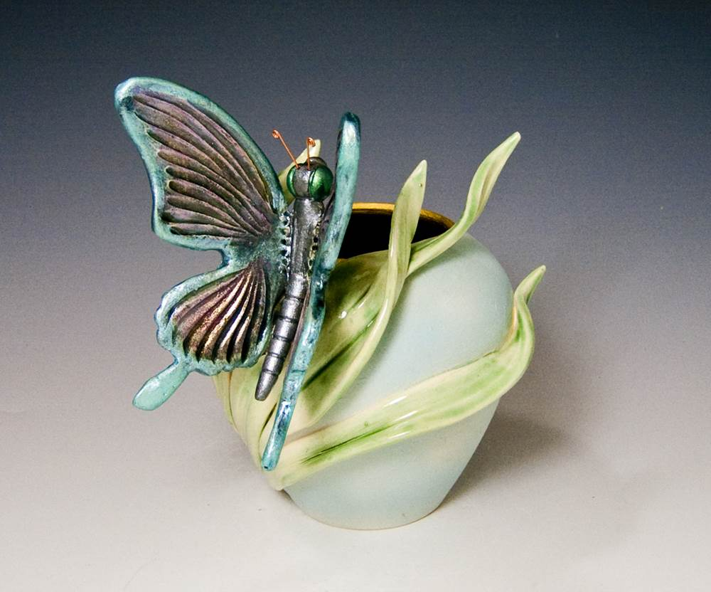 Butterfly Globe Vase Ceramic Artwork by Bonnie Belt