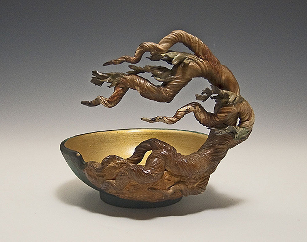 Cypress Cut Away Bowl Ceramic Artwork by Bonnie Belt