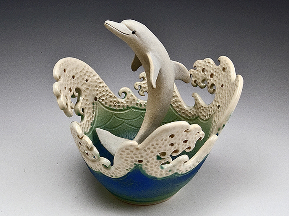 Dolphin Wave Rim Bowl Ceramic Artwork by Bonnie Belt