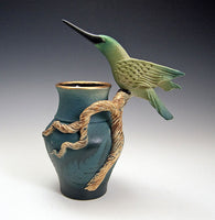 Hummingbird Branch Vase Ceramic Artwork by Bonnie Belt