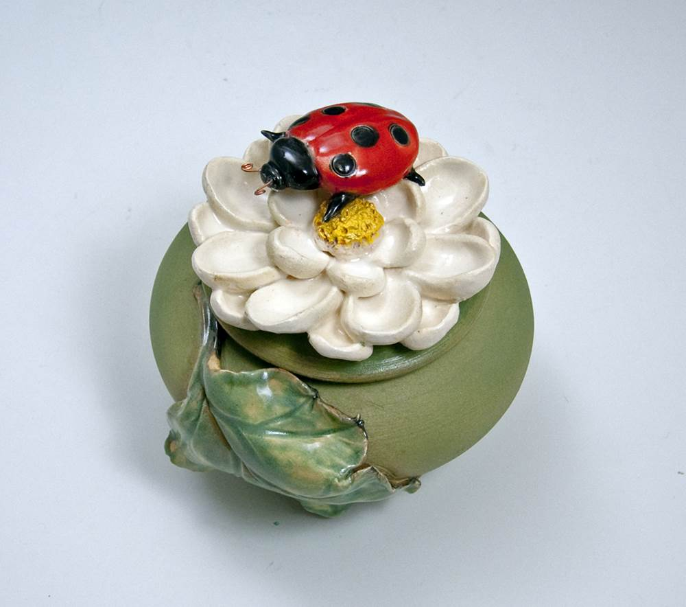 Lady Bug Flower Jar Ceramic Artwork by Bonnie Belt