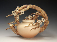 Plum Blossom Arching Branch Teapot Ceramic Artwork by Bonnie Belt