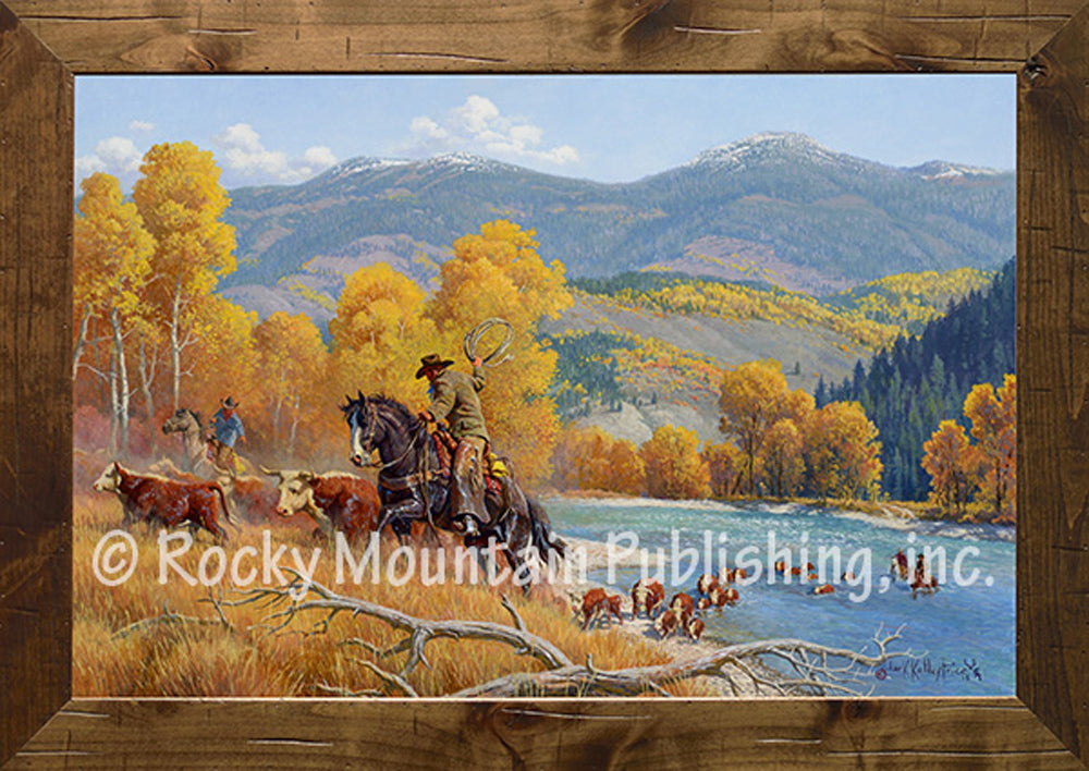 crossing the snake river framed art prints by clark kelley price
