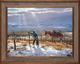 Clark Kelley Price - Fence Mender Framed Giclee Canvas Print