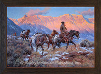 Rocky Mountain Caravan - Framed giclee canvas art print by Clark Kelley Price