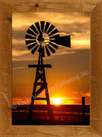 Plains Windmill Framed Giclee Canvas by Dan Ballard