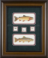 Cutthroat German Brown and Flies 2 Piece Framed Set by Gary Mansanarez