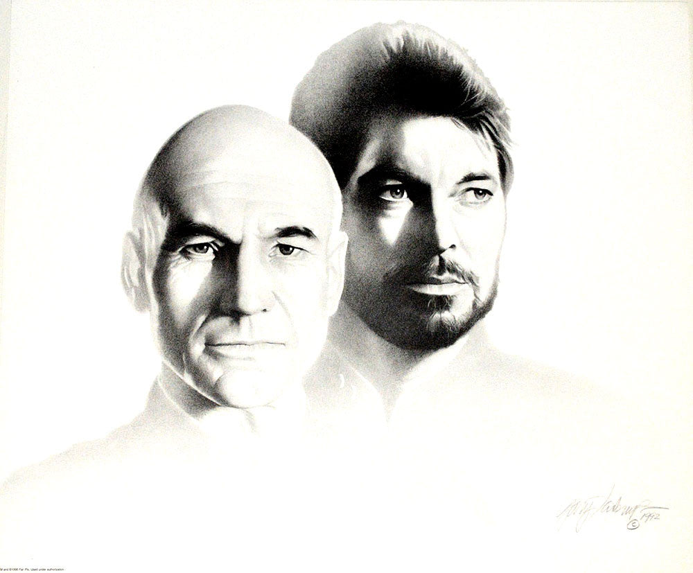 star trek picard and riker art prints by gary saderup