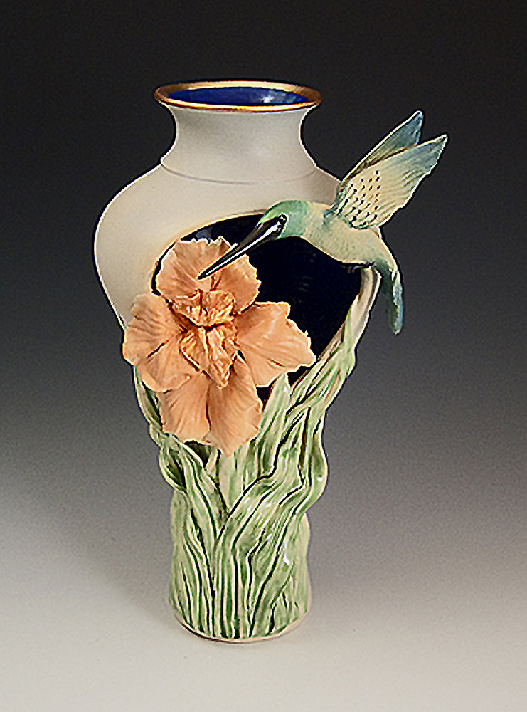 Hummingbird Iris Cutout Vase Ceramic Artwork by Bonnie Belt