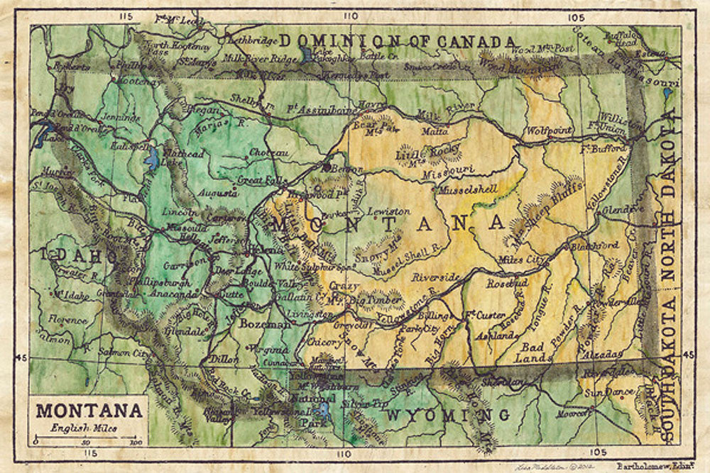Montana Map by Lisa Middleton